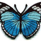 Butterfly blue hippie retro boho embroidered applique iron-on patch S-165