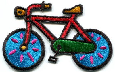 Bicycle retro bike cycle cyclist 70s kids fun applique iron-on patch S-126