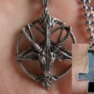 Satanic goats head pentagram + Inverted cross pendants necklaces WE SHIP EVERYWHERE FOR FREE!