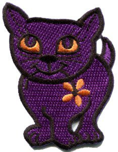 Kitty cat kitten retro embroidered applique iron-on patch S-211