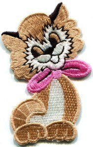 Kitty cat kitten retro embroidered applique iron-on patch S-213