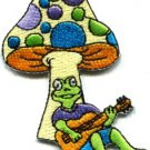 Mushroom frog toad hippie retro boho peace weed pot applique iron-on patch S-229