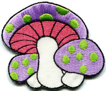 Mushroom boho 70s hippie retro love peace weed pot applique iron-on patch S-73