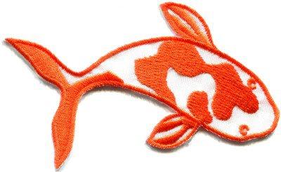 Japanese koi carp fish tattoo Japan love orange applique iron-on patch S-434