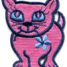 Kitty cat kitten retro embroidered applique iron-on patch S-209