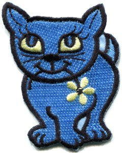 Kitty cat kitten retro embroidered applique iron-on patch S-210