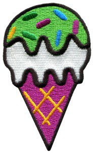 Ice cream cone retro fun kids sweets dessert applique iron-on patch S-198