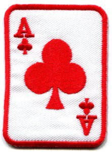 Ace of Clubs red playing cards retro biker rat pack applique iron-on patch S-8