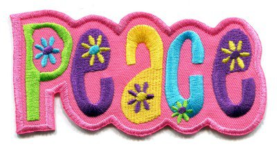 Peace sign hippie boho retro love weed applique iron-on patch S-34