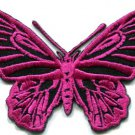 Butterfly hot pink hippie retro boho embroidered applique iron-on patch S-176