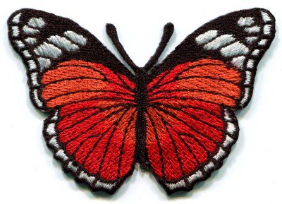 Butterfly red hippie retro boho embroidered applique iron-on patch S-158
