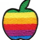 Apple gay lesbian pride rainbow flag retro LBGT applique iron-on patch S-134