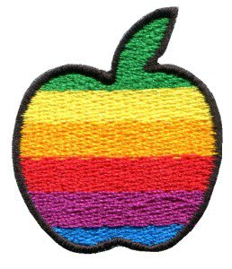 Apple gay lesbian pride rainbow flag retro LBGT applique iron-on patch S-134
