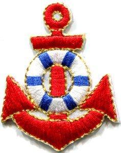 Anchor tattoo navy biker retro ship boat sea sew applique iron-on patch S-405