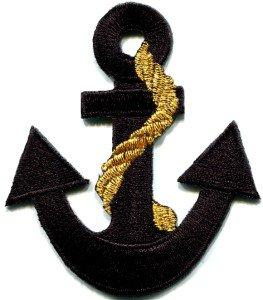 Anchor tattoo navy biker retro ship boat sea sew applique iron-on patch S-399