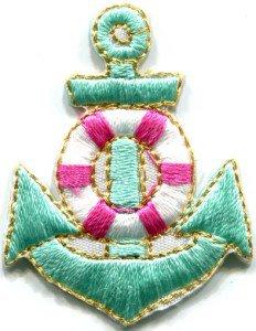 Anchor tattoo navy biker retro ship boat sea sew applique iron-on patch S-404
