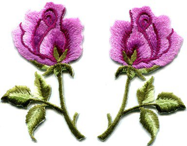 Pink roses pair flowers floral retro boho applique iron-on patch S-413 WORLDWIDE DELIVERY IS FREE!