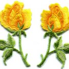 Yellow roses pair flowers floral retro boho applique iron-on patch S-414 WE SHIP ANYWHERE FOR FREE!