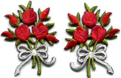 Red roses pair flowers floral bouquet retro boho applique iron-on patch S-417