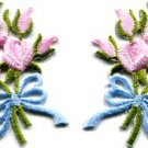 Pink roses pair flowers floral bouquet retro boho applique iron-on patch S-412