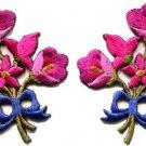 Hot pink lilies pair flowers floral bouquet boho applique iron-on patch S-411