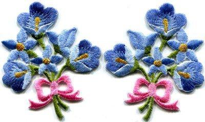 Blue lilies pair flowers floral bouquet boho retro applique iron-on patch S-415
