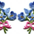 Blue lilies pair flowers floral bouquet boho retro applique iron-on patch S-415