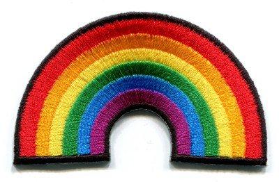 Gay pride lesbian rainbow flag retro love LGBT applique iron-on patch Small S-129