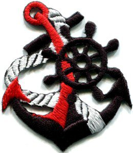 Anchor tattoo navy biker retro ship boat sea sew applique iron-on patch S-397