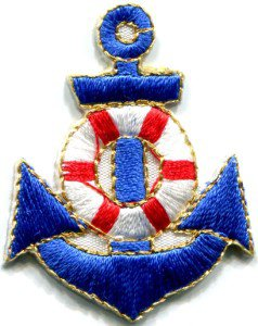 Anchor tattoo navy biker retro ship boat sea sew applique iron-on patch S-403