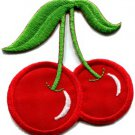 Cherry cherries fruit retro boho biker applique iron-on patch S-285