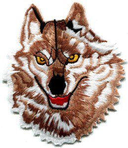 Wolf wolves biker retro applique iron-on patch Small S-236