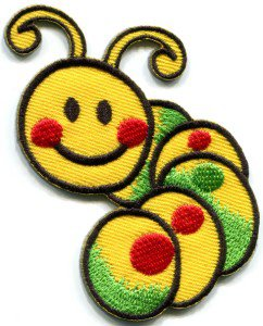 Caterpillar worm insect bug retro kids fun applique iron-on patch S-188