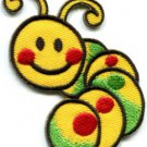 Caterpillar worm insect bug retro kids applique iron-on patch Small S-188