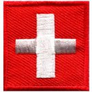 Flag of Switzerland Swiss embroidered applique iron-on patch Medium S-337