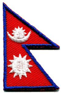 Flag of Nepal Nepalese Buddha Buddhism peace applique iron-on patch S-365