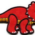 Triceratops Cretaceous dinosaur lizard kids fun applique iron-on patch red S-356