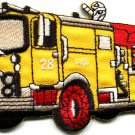 Fire engine truck rescue pumper red retro sewing applique iron-on patch S-562