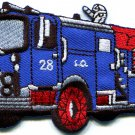 Fire engine truck rescue pumper red retro sewing applique iron-on patch S-563