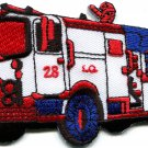 Fire engine truck rescue pumper red retro sewing applique iron-on patch S-564