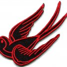 Bird tattoo swallow dove swiftlet sparrow biker applique iron-on patch S-565