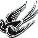 Bird tattoo swallow dove swiftlet sparrow biker applique iron-on patch S-567