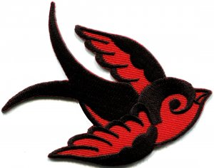 Bird tattoo swallow dove swiftlet sparrow biker applique iron-on patch S-593