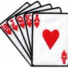 Straight flush playing cards biker retro poker applique iron-on patch S-598