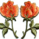 Orange roses pair flowers floral retro boho applique iron-on patch S-540 FREE WORLDWIDE DELIVERY!