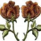 Bronze roses pair flowers floral retro boho applique iron-on patch S-541 FREE SHIPPING WORLDWIDE!