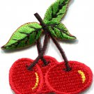 Cherry cherries fruit retro fun biker tattoo applique iron-on patch S-512