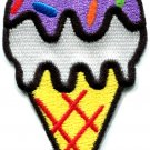 Ice cream cone 70s retro fun kids sweets dessert applique iron-on patch S-200