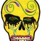 Skull tattoo biker horror goth punk emo rock retro applique iron-on patch G-33