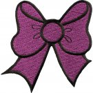 Purple bow knot ribbon boho retro sew sewing applique iron-on patch G-23